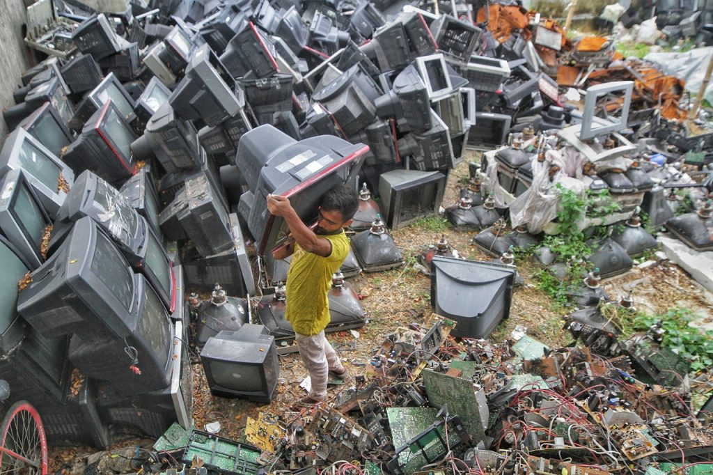 Showing examples of electronic waste